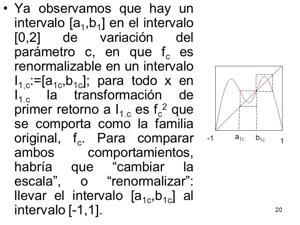 Ya observamos que hay un intervalo [a1,b1] en el intervalo [0,2] de variación del parámetro c, en que fc es renormalizable en un intervalo I1,c:=[a1c,b1c]; para todo x en I1.c la transformación de primer retorno a I1.c es fc2 que se comporta como la familia original, fc. Para comparar ambos comportamientos, habría que cambiar la escala , o renormalizar : llevar el intervalo [a1c,b1c] al intervalo [-1,1].